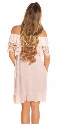 Letné šaty s výšivkou Bledá ružová