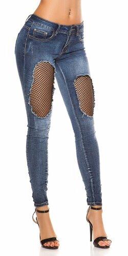 Tmavé džínsy s dierami Modrá