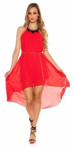 Šaty s dekoratívnym límcom | Červená