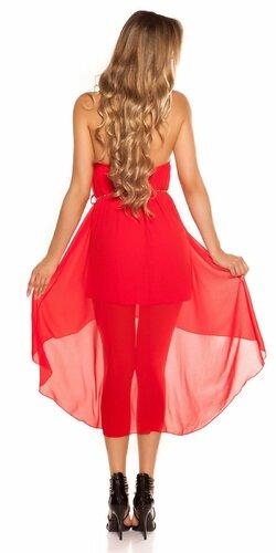 Šaty s dekoratívnym límcom Červená