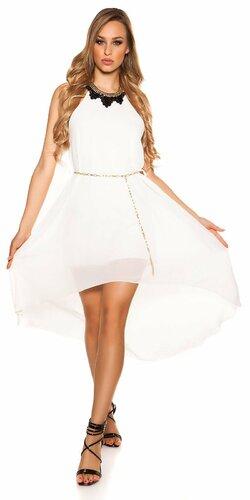 Šaty s dekoratívnym límcom | Biela