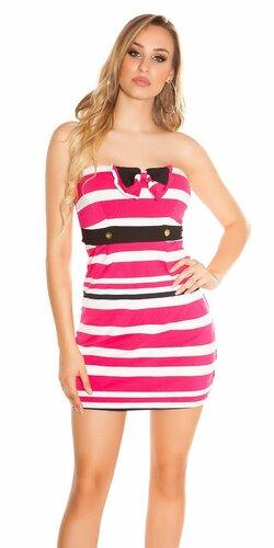 Dámske pruhované letné šaty | Ružová