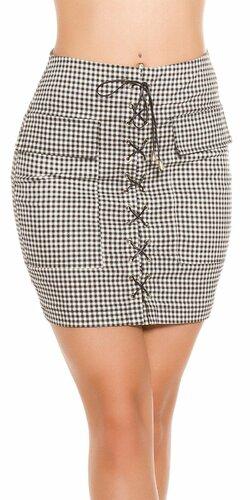 Kockovaná sukňa so šnurovaním Čierno-biela