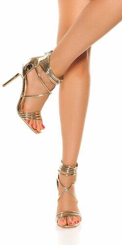 Sandále s pásikmi na vysokom podpätku | Zlatá