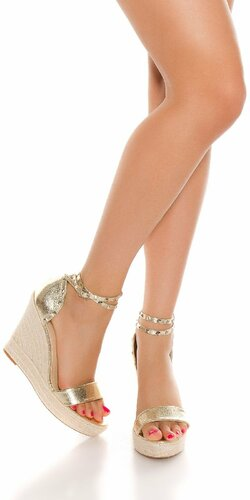 Zlaté sandále na platforme | Zlatá