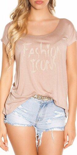 Letné tričko FASHION ICONS | Cappuccino
