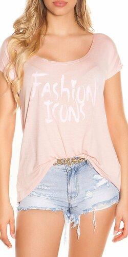 Letné tričko FASHION ICONS | Bledá ružová