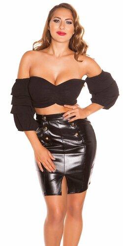 Sexy letný top s padavými rukávmi | Čierna