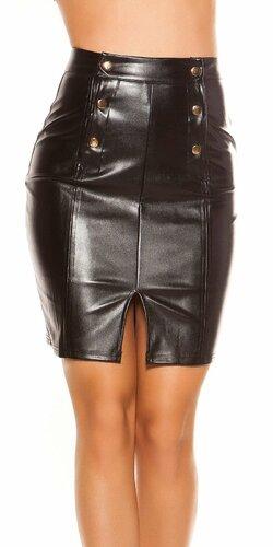 Dlhá kožená sukňa so zvýšeným pásom