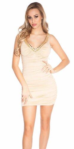 Nariasené mini šaty s kamienkami na ramienka | Béžová