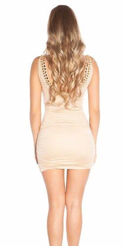 Nariasené mini šaty s kamienkami na ramienka Béžová