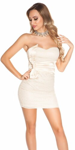 Spoločenské mini šaty s mašľou | Béžová