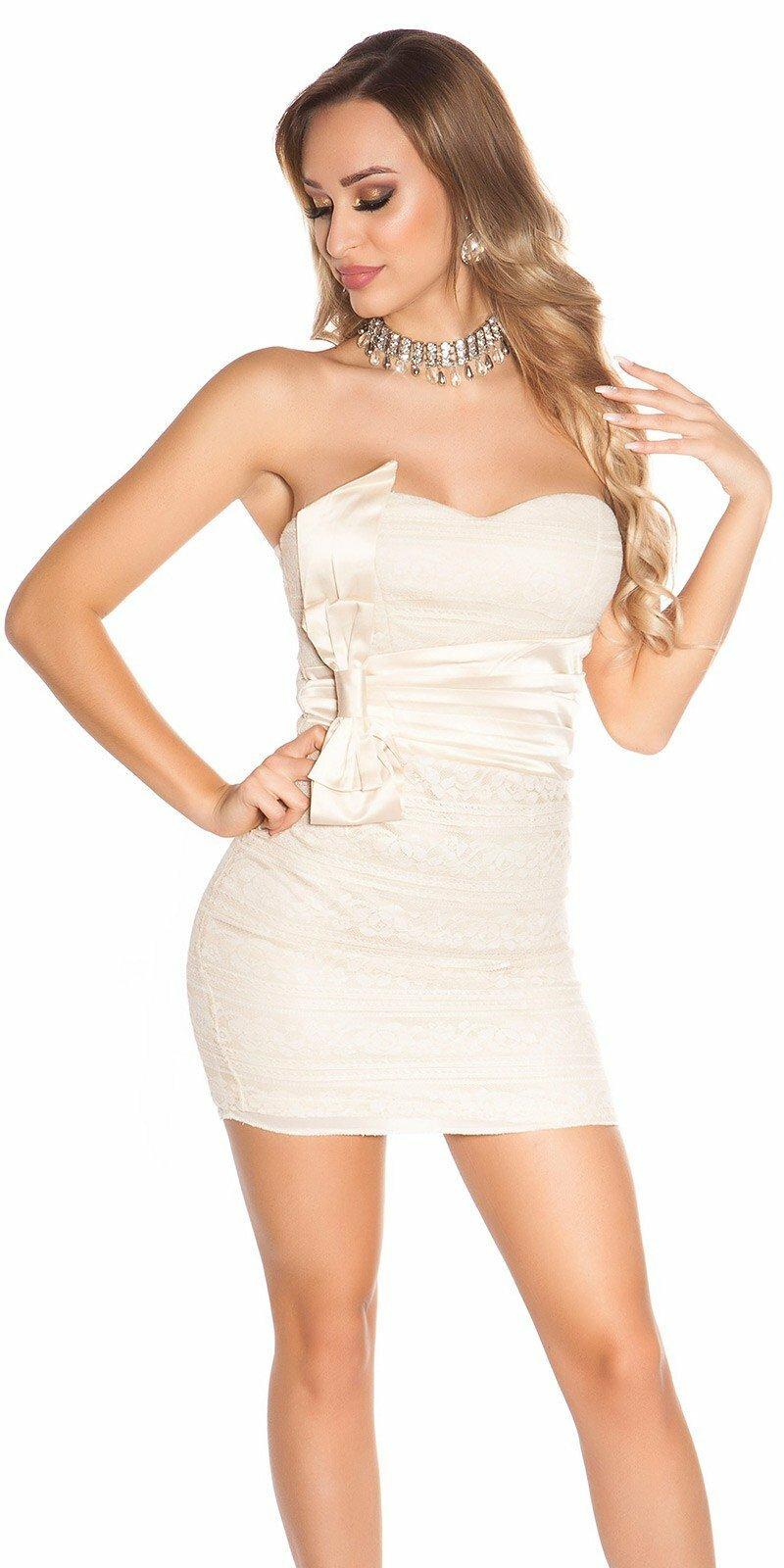 1c85b5eac688 Spoločenské mini šaty s mašľou  Veľkosť XS Farba Béžová