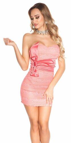 Spoločenské mini šaty s mašľou | Koralová