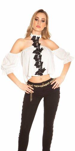 Letné tričko s vyšívanými kvetmi Biela