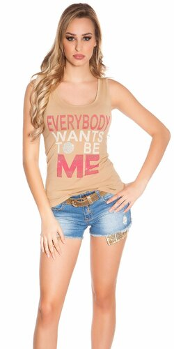 Dámske tielko ,,Everybody wants to be me,, | Béžová