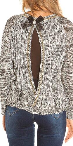 Pletený sveter so šifónom | Čierna