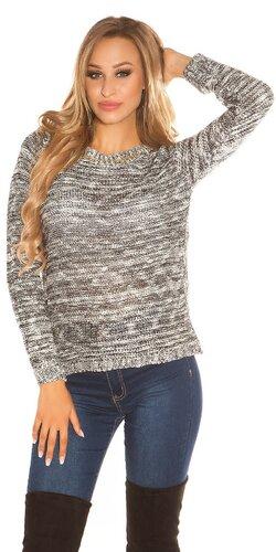Pletený sveter so šifónom Čierna