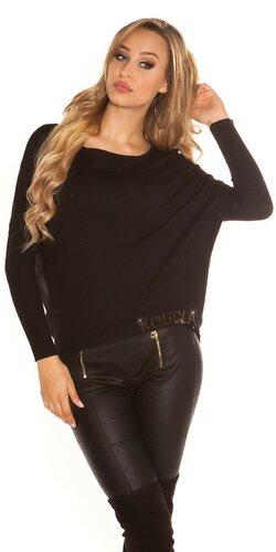 Štýlový KouCla sveter so šifónom | Čierna