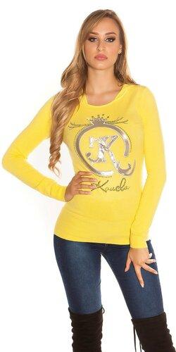 Kapucňový pulóver s logom KouCla | Žltá