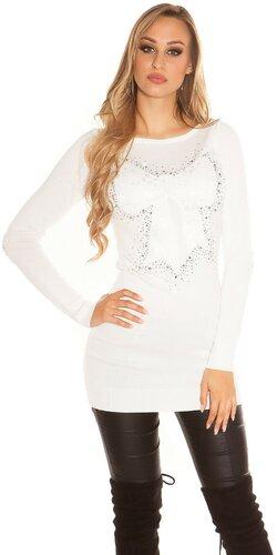 Dlhý sveter zdobený kamienkami do tvaru mašle | Biela