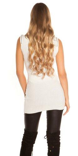 Tielkový pletený sveter so zipsami Biela