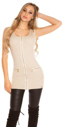 Tielkový pletený sveter so zipsami | Béžová