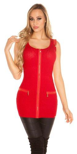 Tielkový pletený sveter so zipsami | Červená
