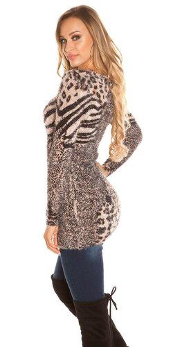 Huňatý leopardí sveter Béžová