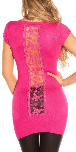 Dámsky sveter s krátkymi rukávmi   Ružová