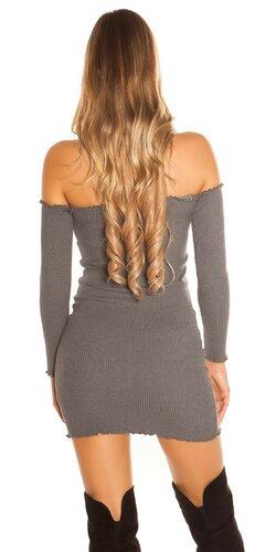 Vrúbkované mini šaty Šedá