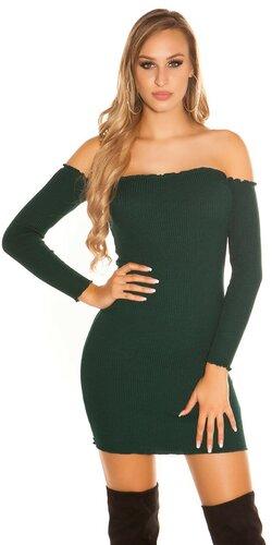 Vrúbkované mini šaty | Zelená