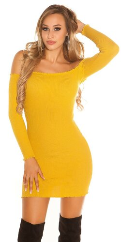 Vrúbkované mini šaty | Horčicová