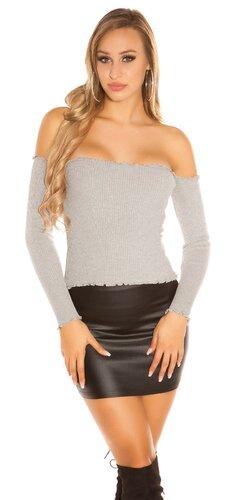 Vrúbkovaný sveter | Šedá