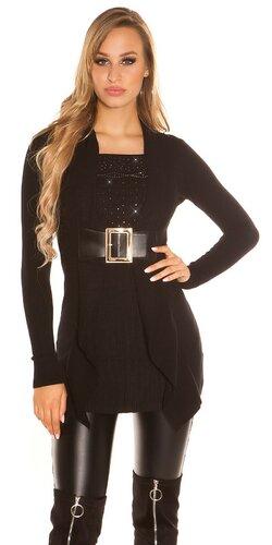 Dlhý kamienkový sveter s opaskom | Čierna