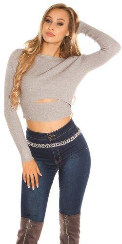 Krátky vrúbkovaný sveter | Šedá