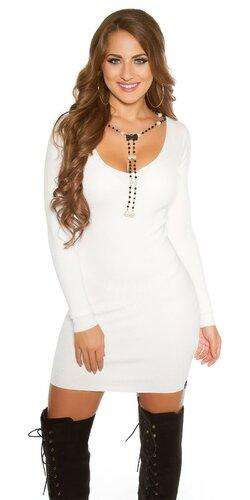 Pletené šaty s náhrdeľníkom | Biela
