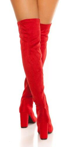 Semišové čižmy so zipsom vpredu Červená