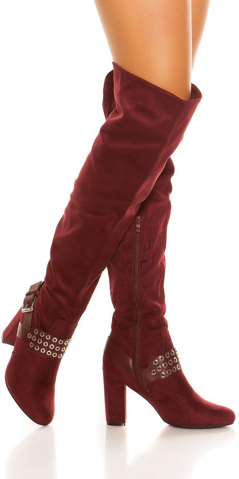 cae090e202b9 Vysoké semišové čižmy s hrubým podpätkom  Velkosť topánok 39 Farba Bordová