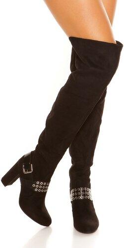 Vysoké semišové čižmy s hrubým podpätkom
