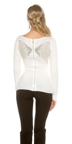 Dámsky sveter s anjelskými krídlami | Biela