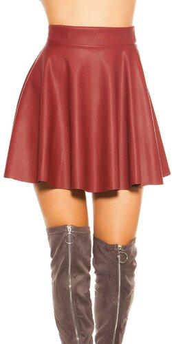 Kožená sukňa so zvýšeným pásom Bordová