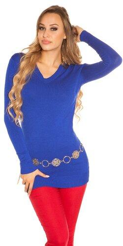 Dlhý sveter klasického strihu | Modrá