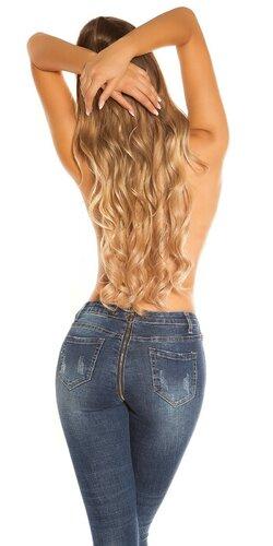 Džínsy s back & front zipsom | Modrá