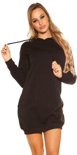 Svetrové šaty s kapucňou Čierna