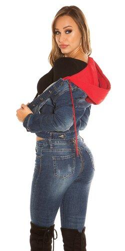 Denim bunda s kapucňou | Červená