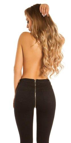 Džínsy so zipsom na zadnej strane | Čierna