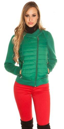 Ľahká zimná prešívaná bunda | Zelená