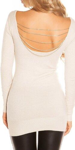 Dámsky sveter s retiazkami KouCla Béžová