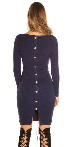 Pletené šaty s veľkými gombíkmi | Tmavomodrá